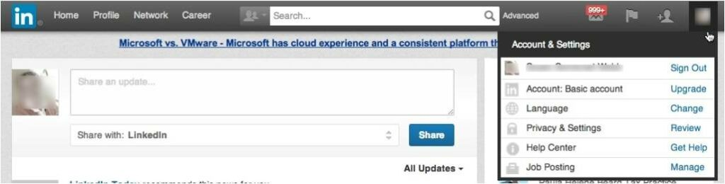 Nuevo diseño de LinkedIn _ Acconunt & Settings