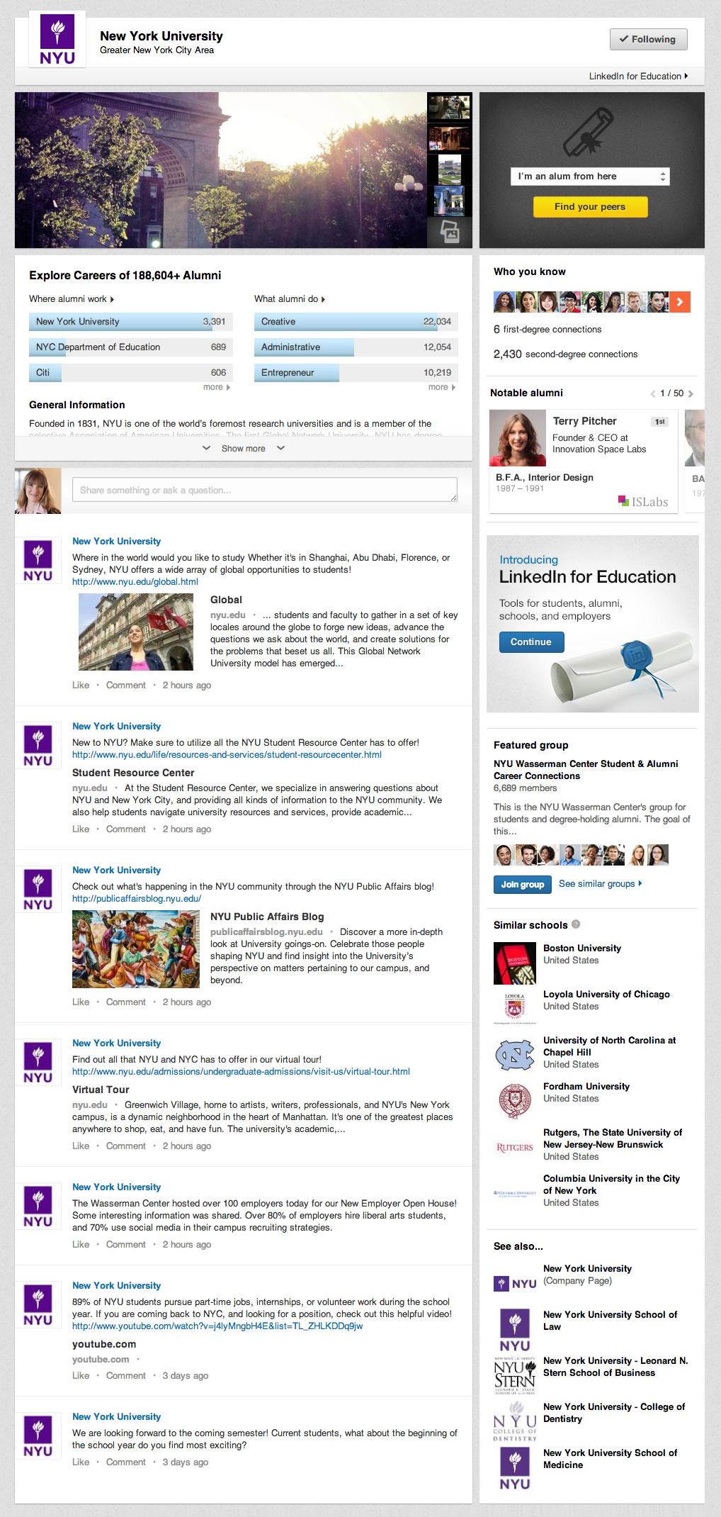 LinkedIn presenta las nuevas Uiversity Pages - Ejemplo de New York University (NYU)