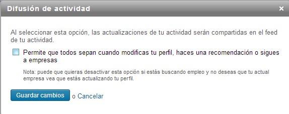 configuración de la difusión de actividad en LinkedIn