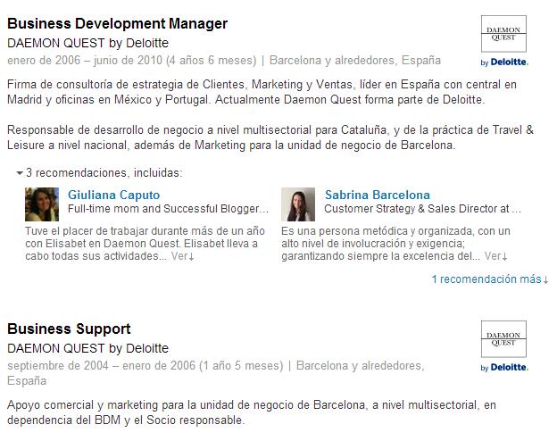 Ejemplo de varios puestos ocupados en una misma empresa _ LinkedIn
