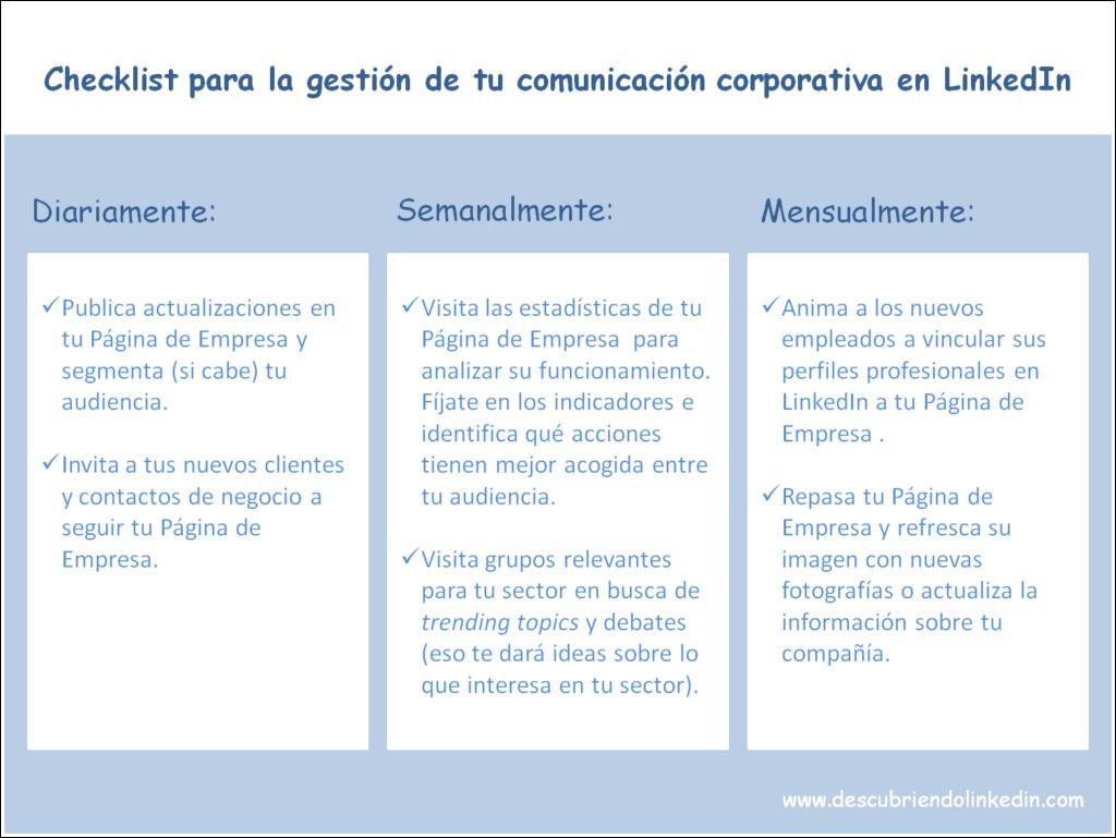 Checklist para la gestión de tu comunicación corporativa en LinkedIn