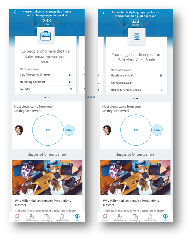 Nuevas estadísticas sobre actualizaciones para usuarios premium en LinkedIn - detalle