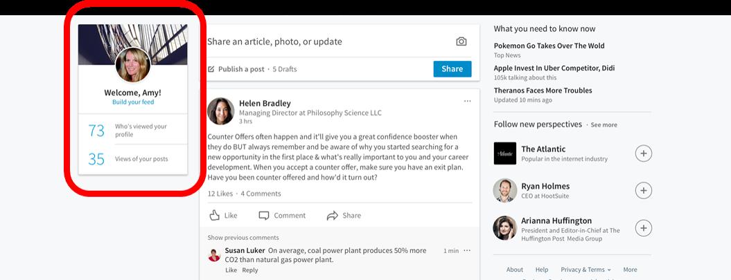 Nueva página de inicio LinkedIn _ Rediseño LinkedIn en 3 columnas