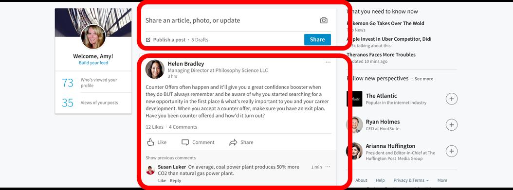 Nueva página de inicio LinkedIn _ Rediseño LinkedIn feed de actividad