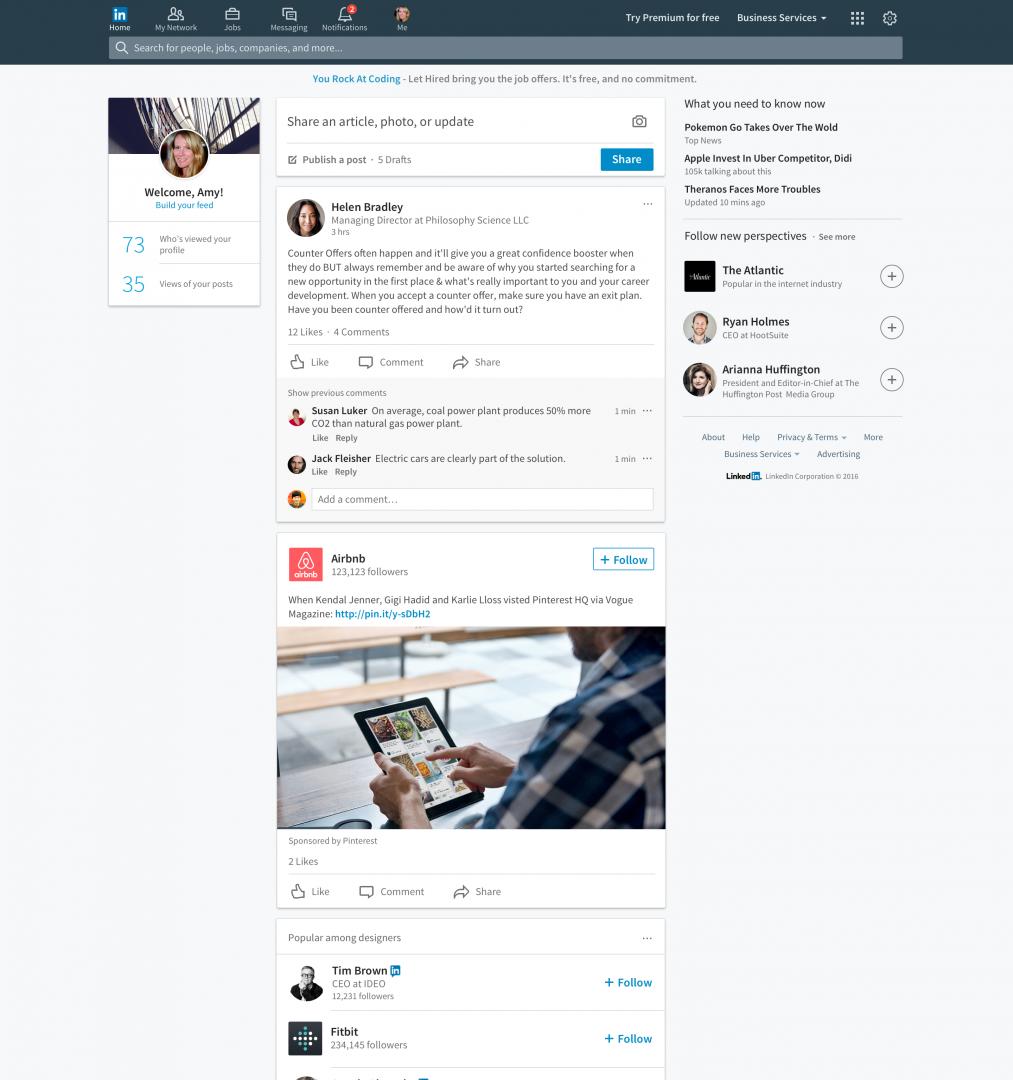 Nueva página de inicio LinkedIn