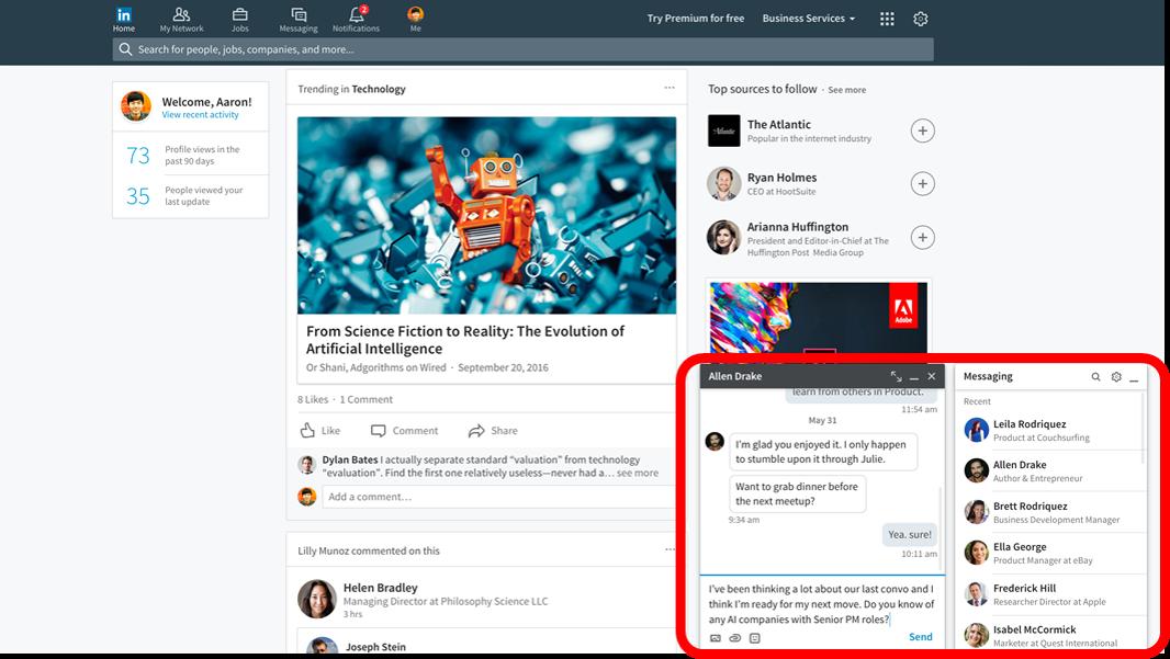Rediseño LinkedIn _ mejora en los mensajes de LinkedIn